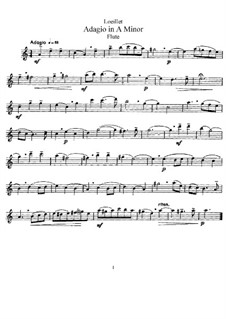 Адажио ля минор: Для флейты и фортепиано – партия флейты by Жан-Батист Лойе де Гент