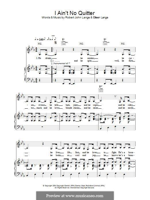 I Ain't No Quitter: Для голоса и фортепиано (или гитары) by Robert John Lange