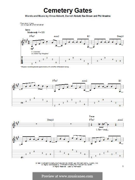 Cemetery Gates (Pantera): Для гитары by Vince Abbott, Darrell Abbott, Rex Brown, Phill Anselmo