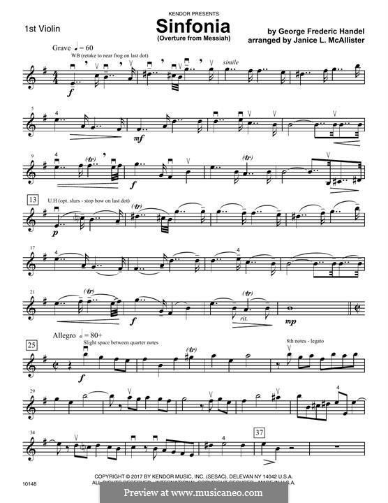 No.1 Увертюра: 1st Violin part by Георг Фридрих Гендель