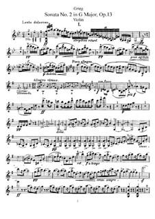 Соната для скрипки и фортепиано No.2 соль мажор, Op.13: Сольная партия by Эдвард Григ