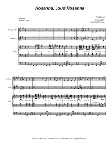 Hosanna, Loud Hosanna: Duet for Bb-trumpet and french horn - organ accompaniment by Unknown (works before 1850)