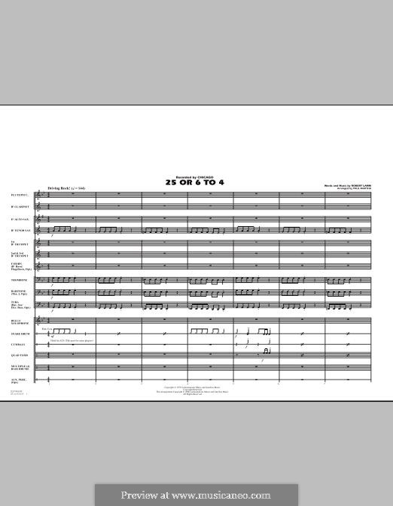 25 or 6 to 4 (Chicago): Full score (arr. Paul Murtha) by Robert Lamm