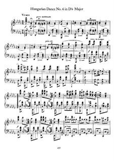 Танец No.6 ре-бемоль мажор: Для фортепиано by Иоганнес Брамс