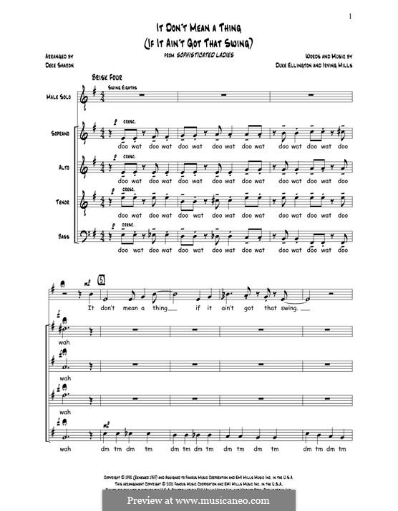 It Don't Mean a Thing (If It Ain't Got That Swing): Для смешанного хора by Irving Mills, Duke Ellington
