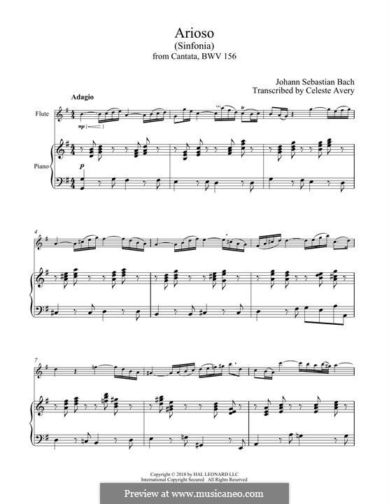 Ариозо соль мажор: Для флейты и фортепиано by Иоганн Себастьян Бах