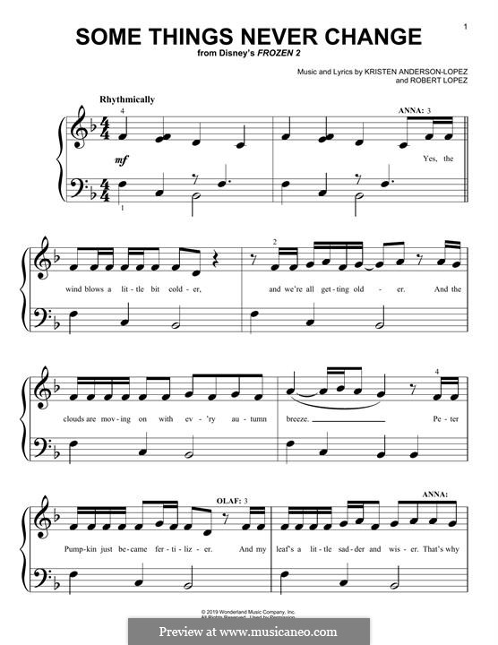 Some Things Never Change (from Disney's Frozen 2): Для фортепиано (легкий уровень) by Robert Lopez, Kristen Anderson-Lopez