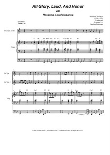 All Glory, Laud, and Honor (with 'Hosanna, Loud Hosanna'): Duet for Bb-trumpet by Unknown (works before 1850), Melchior Teschner