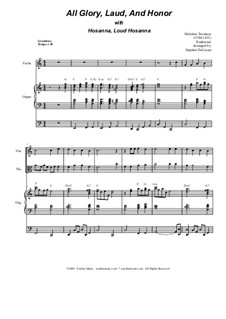 All Glory, Laud, and Honor (with 'Hosanna, Loud Hosanna'): Duet for violin and viola by Unknown (works before 1850), Melchior Teschner