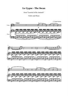 Лебедь: Для скрипки и фортепиано by Камиль Сен-Санс