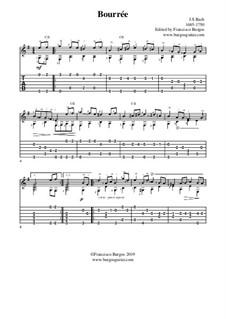 Сюита для лютни (или клавесина) ми минор, BWV 996: Bourrée. Version for guitar with tab by Иоганн Себастьян Бах