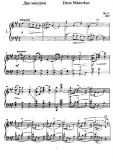 Две мазурки, Op.15: Для фортепиано by Анатолий Лядов