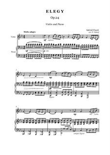 Элегия, Op.24: Для скрипки и фортепиано by Габриэль Форе