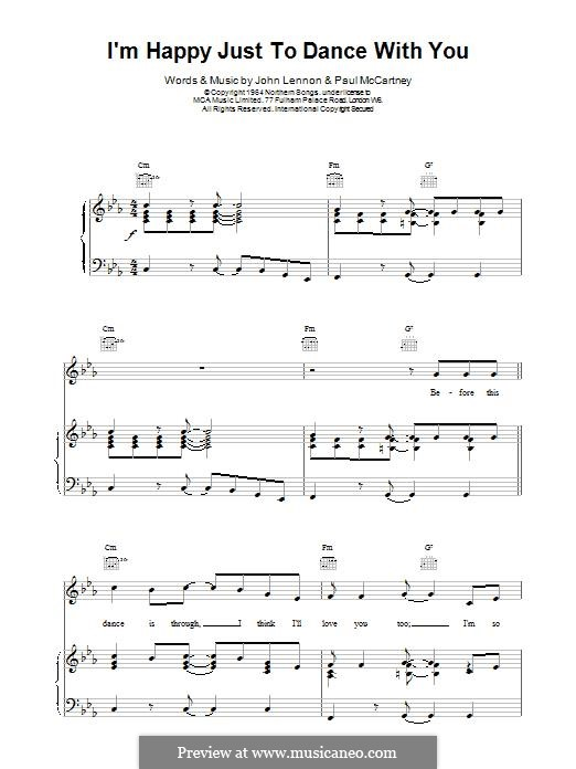 I'm Happy Just to Dance with You (The Beatles): Для голоса и фортепиано (или гитары) by John Lennon, Paul McCartney