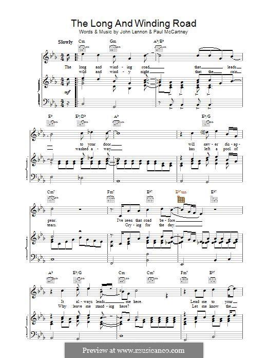 The Long and Winding Road (The Beatles): Для голоса и фортепиано (или гитары) by John Lennon, Paul McCartney