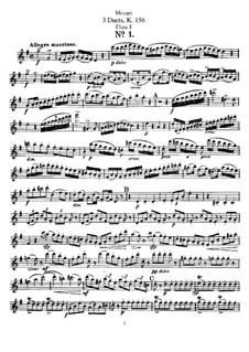 Три дуэта для двух флейт: Партия I флейты by Вольфганг Амадей Моцарт