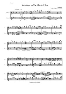 The Minstrel Boy (The Moreen): For 2 flutes (variations) by folklore