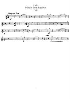 Фаэтон, LWV61: Менуэт, для флейты и фортепиано – Партия флейты by Жан-Батист Люлли