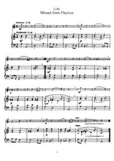 Фаэтон, LWV61: Менуэт, для флейты и фортепиано by Жан-Батист Люлли