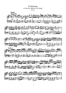 Eight Variations on 'Laat ons Juichen' by C. E. Graaf, K.24: Для фортепиано by Вольфганг Амадей Моцарт
