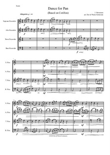 Dance for Pan (based on Cotillon): For recorder quartet by Jean Hotteterre