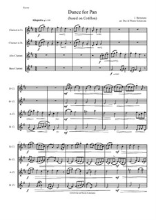 Dance for Pan (based on Cotillon): For clarinet quartet (E flat, B flat, Alto, Bass) by Jean Hotteterre