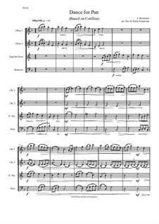 Dance for Pan (based on Cotillon): For double-reed quartet (2 oboes, cor anglais and bassoon) by Jean Hotteterre
