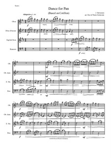 Dance for Pan (based on Cotillon): For double-reed quartet (oboe, oboe d'amore, cor anglais and bassoon) by Jean Hotteterre