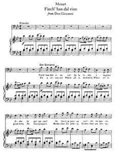 Finch' han dal vino: Клавир с вокальной партией by Вольфганг Амадей Моцарт