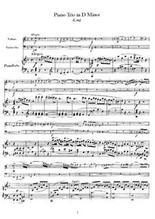 Трио для скрипки, виолончели и фортепиано No.8 ре минор, K.442: Партитура by Вольфганг Амадей Моцарт
