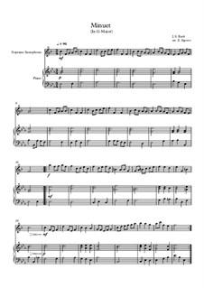 10 Easy Classical Pieces for Soprano Saxophone and Piano Vol. 2: Minuet (In G Major) by Иоганн Себастьян Бах, Генри Пёрсел, Жорж Бизе, Людвиг ван Бетховен, Эдвард Григ, Александр Бородин, Петр Чайковский, Франц Ксавьер Грубер