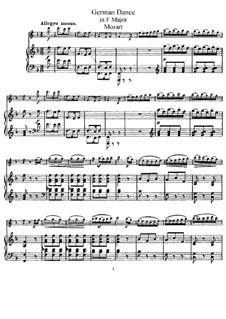 Шесть немецких танцев, K.509: Для скрипки (или флейты) и фортепиано by Вольфганг Амадей Моцарт