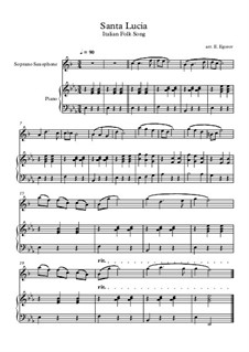 Санта Лючия: For soprano saxophone and piano by folklore