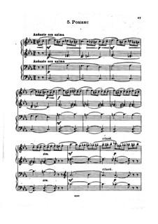 Шесть пьес для фортепиано в четыре руки, Op.11: Романс by Сергей Рахманинов