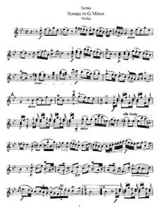 Соната для скрипки и фортепиано соль минор 'Покинутая Дидона': Сольная партия by Джузеппе Тартини