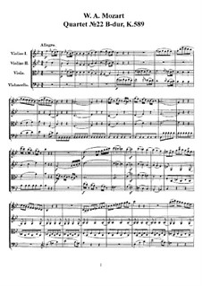 Струнный квартет No.22 си-бемоль мажор, K.589: Партитура, Партии by Вольфганг Амадей Моцарт