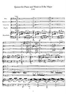 Квинтет для духовых и фортепиано ми-бемоль мажор, K.452: Партитура by Вольфганг Амадей Моцарт