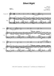 Тихая ночь, дивная ночь, для двух инструментов: For Bb-trumpet solo and piano by Франц Ксавьер Грубер