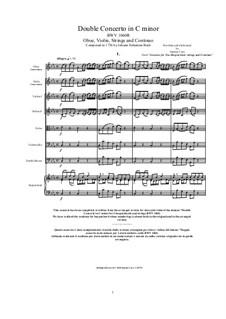 Концерт для скрипки, гобоя и струнных No.1 до минор, BWV 1060r: Score, parts by Иоганн Себастьян Бах