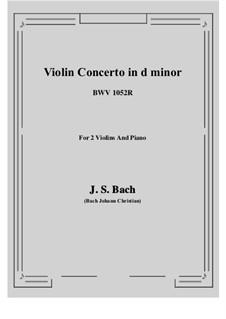 Концерт для клавесина и струнных инструментов No.1 ре минор, BWV 1052: Score, parts by Иоганн Себастьян Бах