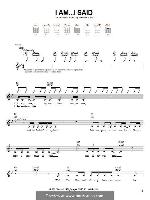 I Am...I Said: Гитарная табулатура by Neil Diamond