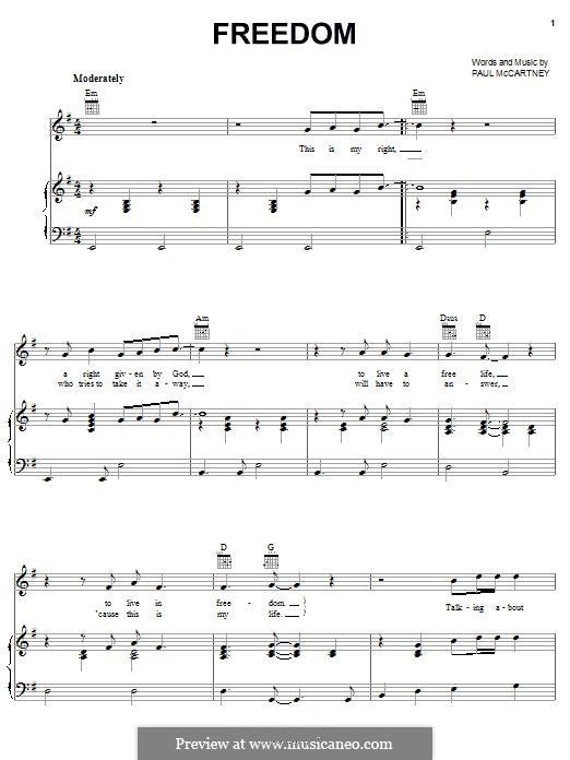 Freedom: Для голоса и фортепиано (или гитары) by Paul McCartney
