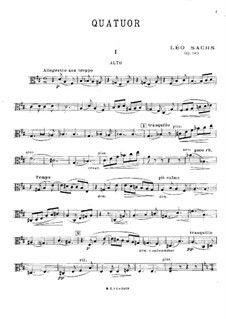 Струнный квартет ре мажор, Op.143: Партия альта by Léo Sachs