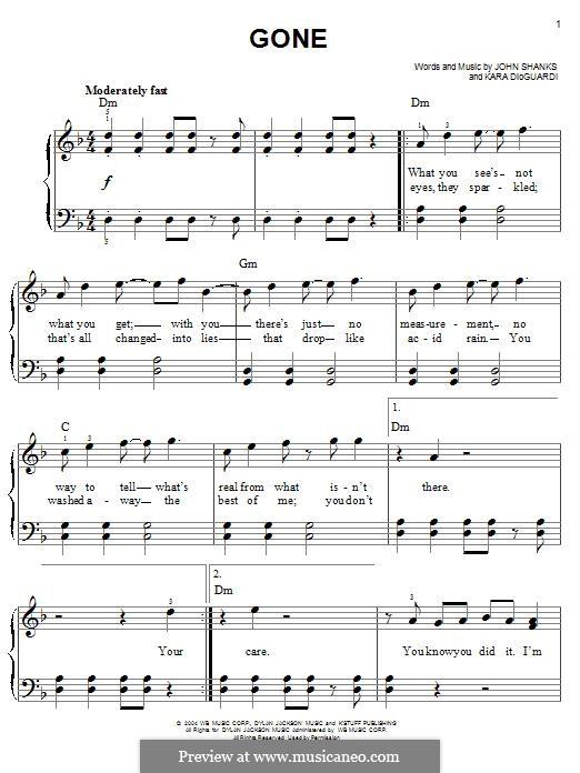 Gone (Kelly Clarkson): Для фортепиано by John M Shanks, Kara DioGuardi