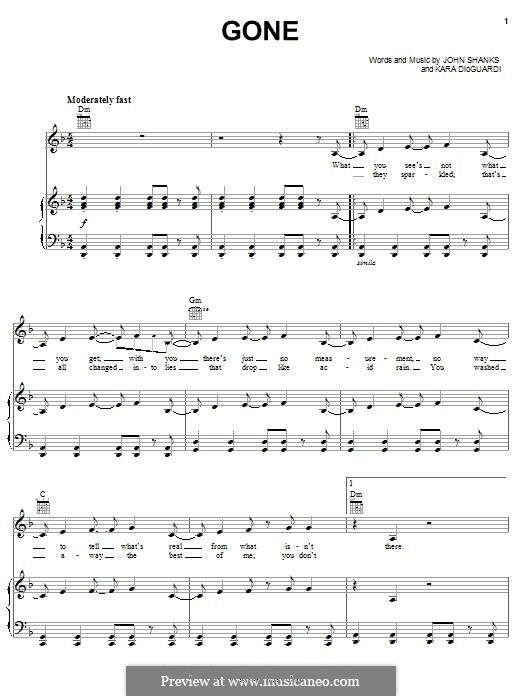 Gone (Kelly Clarkson): Для голоса и фортепиано (или гитары) by John M Shanks, Kara DioGuardi
