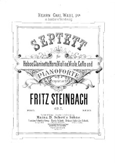 Септет для духовых, струнных и фортепиано, Op.7: Партитура by Fritz Steinbach
