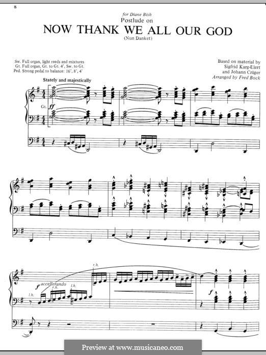 Now Thank We All Our God: Для органа by Иоганн Крюгер