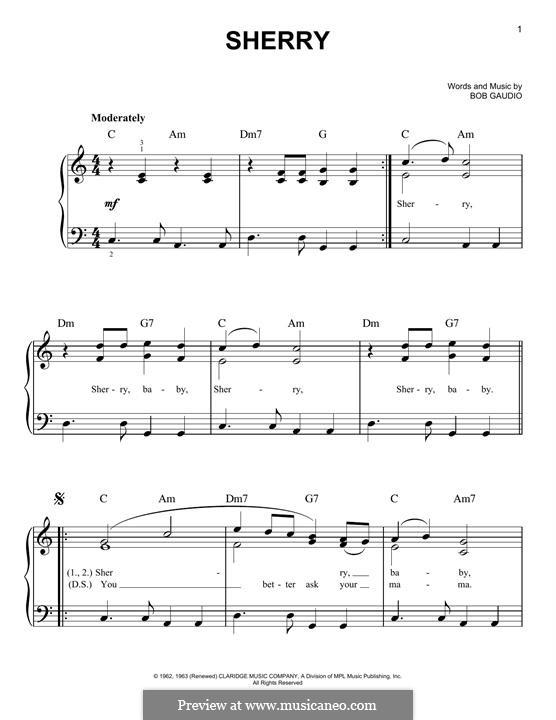 Sherry (The Four Seasons): Для фортепиано by Bob Gaudio
