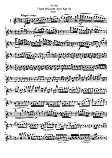 Три блестящих дуэта для двух флейт, Op.81: Партия I флейты by Фридрих Кулау