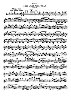 Три больших дуэта для двух флейт, Op.39: Партия I флейты by Фридрих Кулау